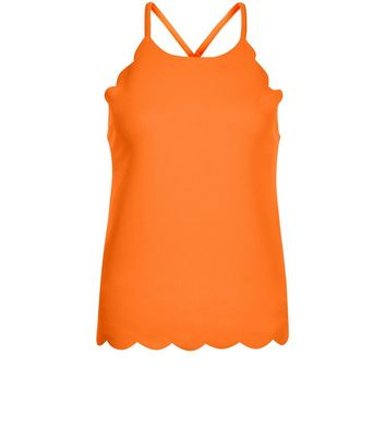 Bright Orange Scallop Hem Cami Top New Look