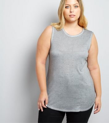 Curves Grey Stud Embellished Vest New Look