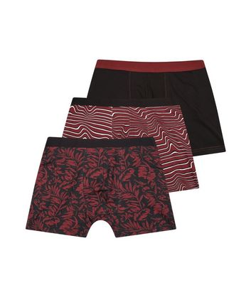 3 Pack Burgundy Leaf Print Boxer Briefs New Look