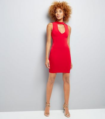 Red Choker Neck Bodycon Dress New Look