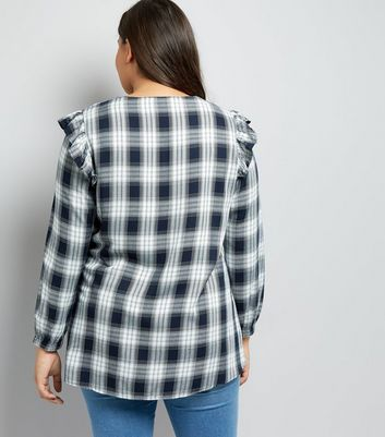Curves Navy Check Lace Up Front Blouse New Look