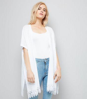 White Crochet Trim Fine Knit Kimono New Look