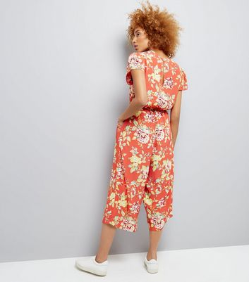 Coral Floral Print Wrap Front Culotte Jumpsuit New Look