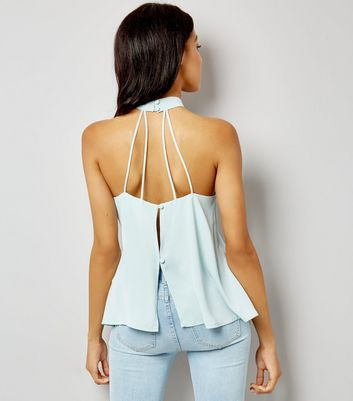 Pale Blue Choker Strap Back Top New Look