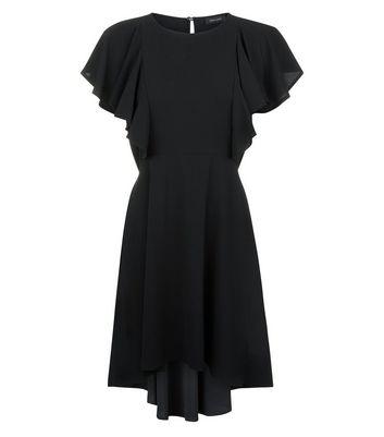 Black Dip Hem Frill Trim Dress New Look