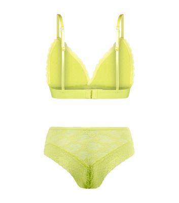 Yellow Lace Bralet and Brazilian Briefs Set New Look
