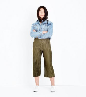 Teens Khaki Pleated Trousers New Look
