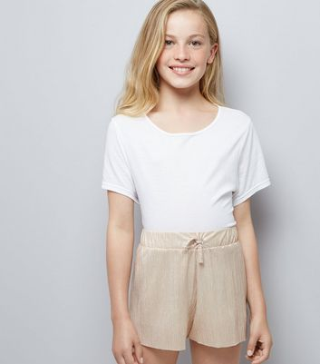 Teens Pink Pleated Shorts New Look
