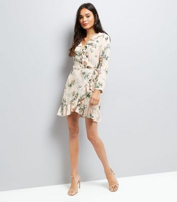 Shell Pink Floral Print Wrap Front Dress New Look
