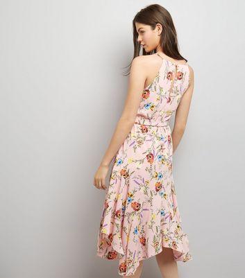 Pink Floral Print Hanky Hem Midi Dress New Look