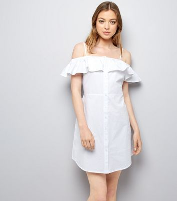 White Button Front Cold Shoulder Sundress New Look