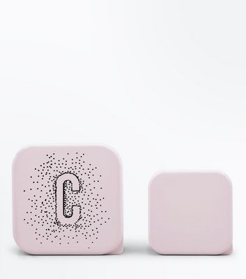 2 Pack Shell Pink C Initial Lunch Box New Look