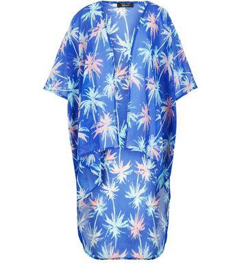 Teens Blue Palm Tree Print Dip Hem Kimono New Look