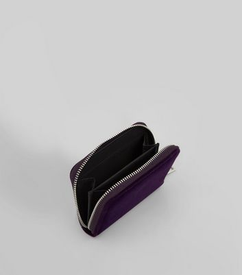 Purple Velvet Zip Around Purse New Look