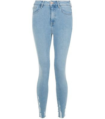 Light Blue Distressed Hem Skinny Jenna Jeans New Look