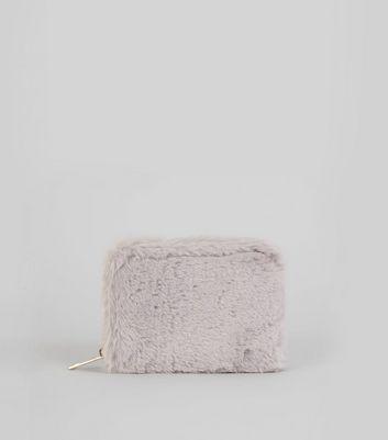 Grey Faux Fur Cardholder New Look