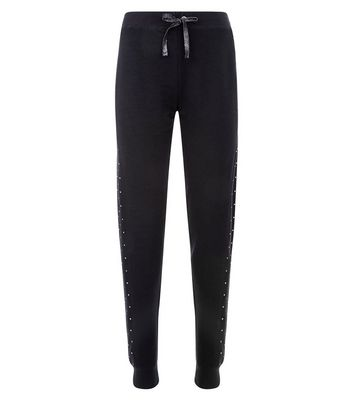 Black In Your Dreams Slogan Pyjama Joggers New Look