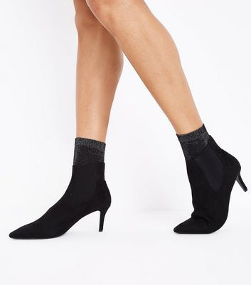 Black Glitter Ankle Socks New Look