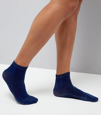 Dark Blue Glitter Ankle Socks New Look