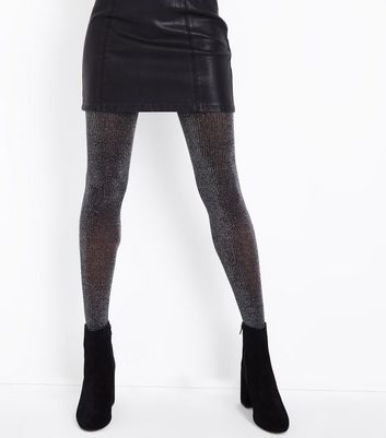 Black Glitter Ribbed Tights New Look