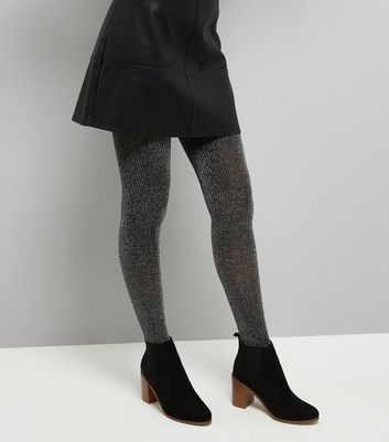 Silver Glitter Ribbed Tights New Look