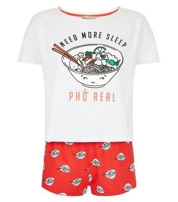 Pale Grey Pho Real Slogan Print T-Shirt And Shorts Set New Look