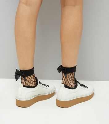Black Bow Back Fishnet Socks New Look
