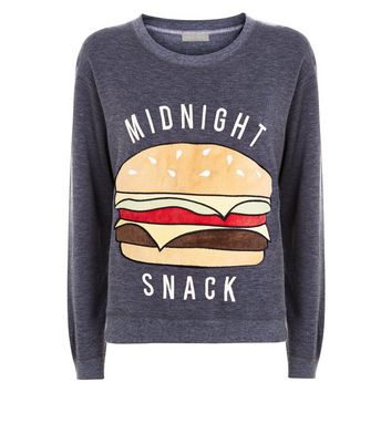 Dark Grey Midnight Snack Pyjama Sweater New Look