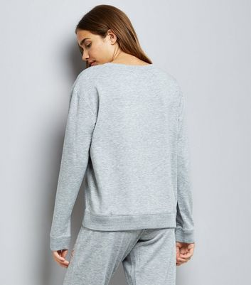 Grey Sunday Applique Lounge Sweater New Look