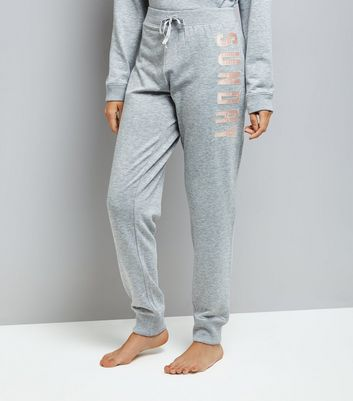 Grey Sunday Applique Lounge Joggers New Look