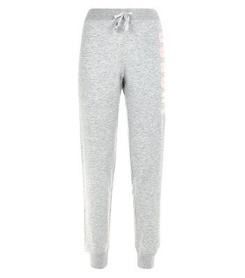 Tall Grey Sunday Embroidered Pyjama Joggers New Look