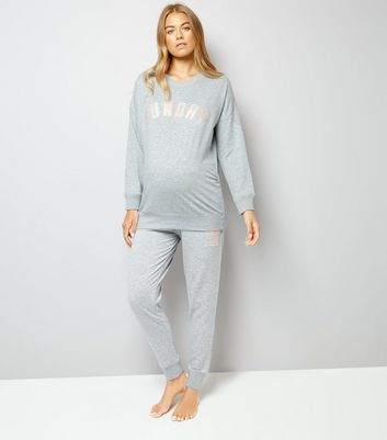 Maternity Grey Sunday Pyjama Sweatshirt New Look