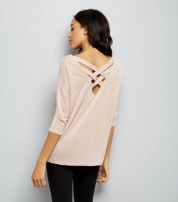 Pink Glitter Fine Knit Lattice Back Top New Look