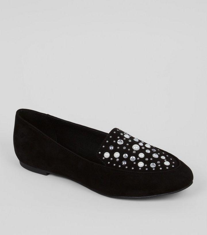 7ccec8a89ff Wide Fit Black Suedette Embellished Loafers