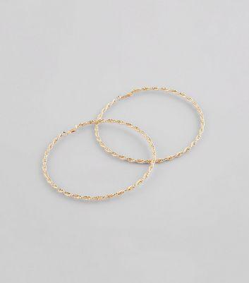 Gold Oversized Twisted Hoop Earrings New Look