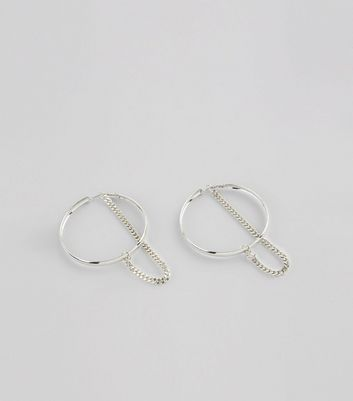 Silver Hoop and Chain Earrings New Look