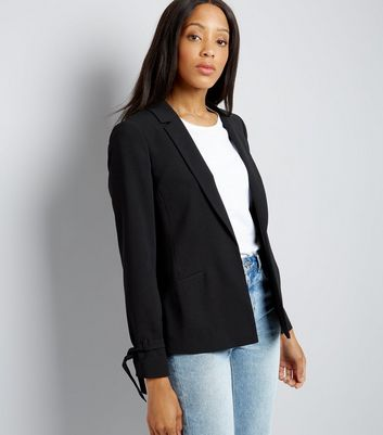 Black Tie Sleeve Jacket New Look