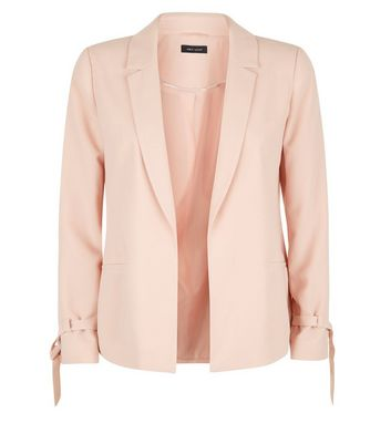 Shell Pink Tie Sleeve Jacket New Look