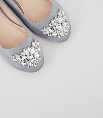 Wide Fit Grey Satin Embellished Ballet Pumps New Look