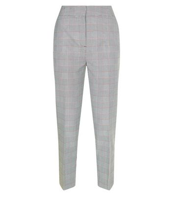 Black Check Slim Leg Cropped Trousers New Look