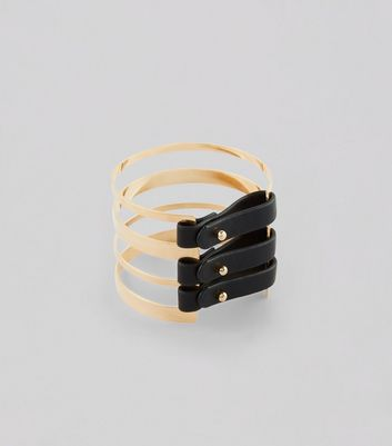 Gold Leather-Look Buckle Cuff New Look