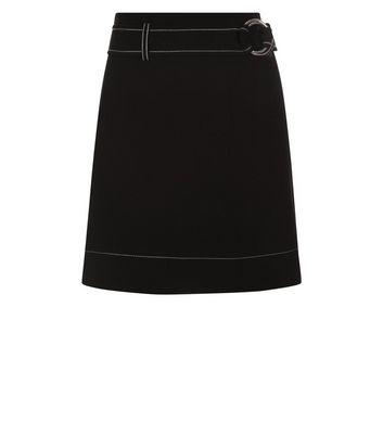 Black D Ring Belt Stitch Detail Mini Skirt New Look