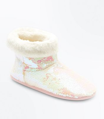 White Iridescent Sequin Slipper Boots