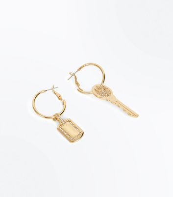 Gold Mismatched Key Hoop Earrings New Look