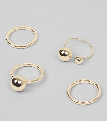 4 Pack Gold Orb Rings New Look