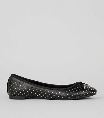 Black Stud Detail Ballet Pumps New Look