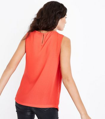 Tall Red Wrap Tie Side Top New Look