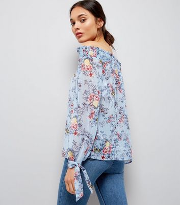 Tall Blue Floral Metallic Detail Bardot Neck Top New Look