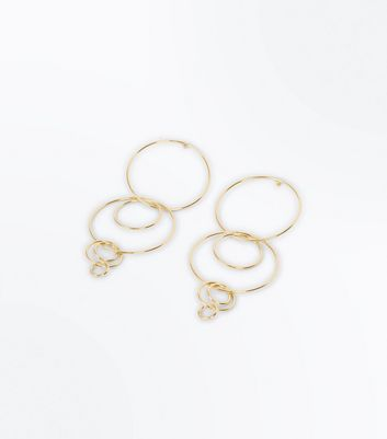 Gold Overlapping Circle Gradient Drop Earrings New Look