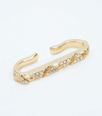 Gold Diamante Scaffold Bar New Look